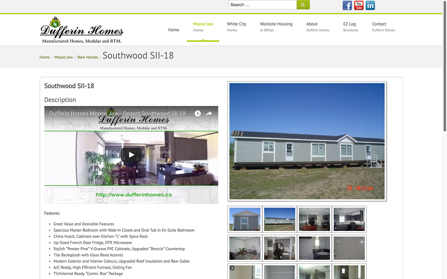 Dufferin homes website product showcase reactive for Product design website
